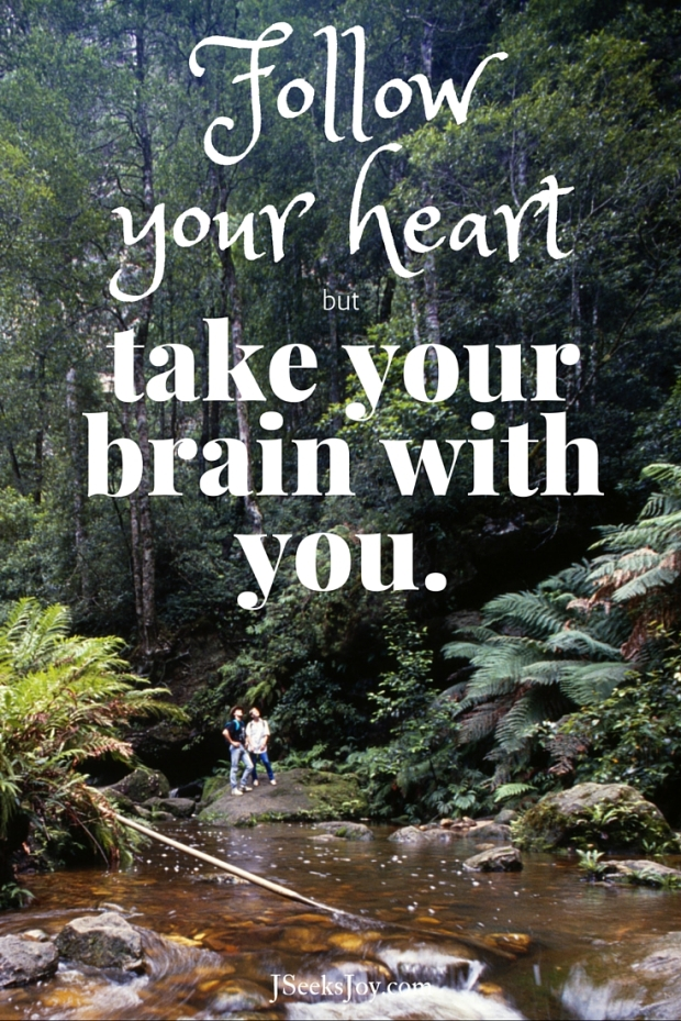 Follow your heart but take your brain with you. Quotes for incoming college freshmen found on JSeeksjoy.com